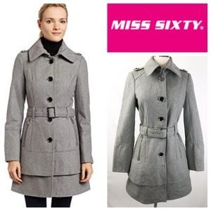 Miss Sixty Heather Gray Wool Blend Belted Jacket